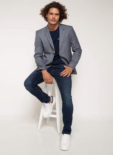 DeFacto Keten Karışım Modern Fit Blazer Ceket Mavi